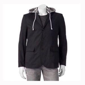 Men's black removable hooded blazer jacket